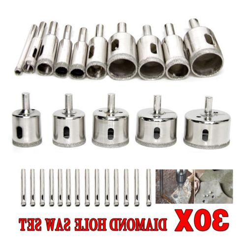 30PCS 6-50mm Diamond Coated Core Hole Saw Drill Bit Set Tool