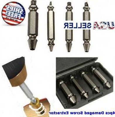 4pc Broken Bolt Remover Extractor Drill Bits Easy Out Stud R