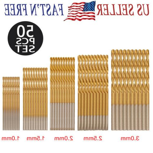 50pcs high speed steel titanium coated hss
