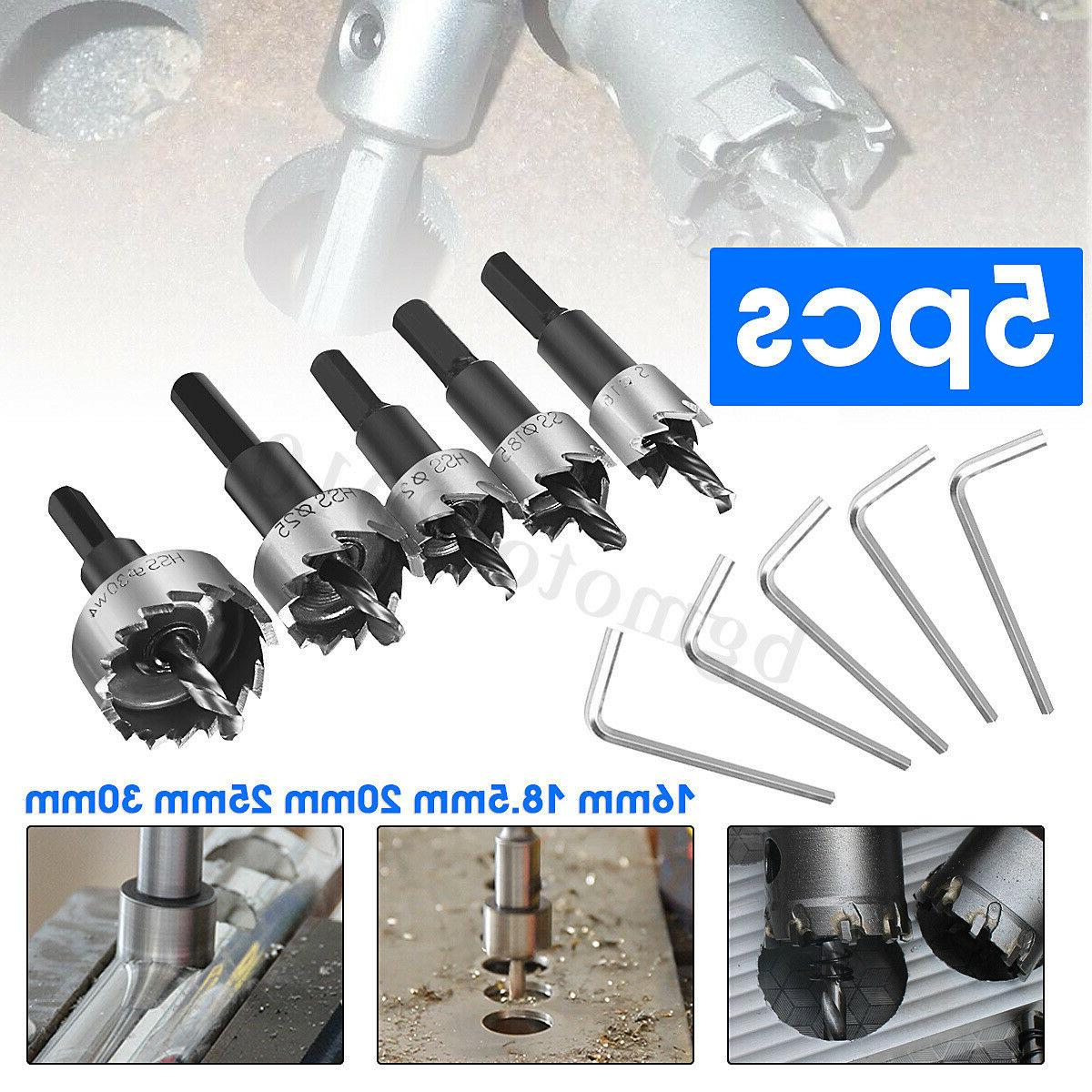5PCS Drill Hole Saw Set Stainless Steel