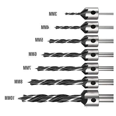 7 Drill Wood 5 Countersink Set 5 7 8 10mm Carpentry Tool