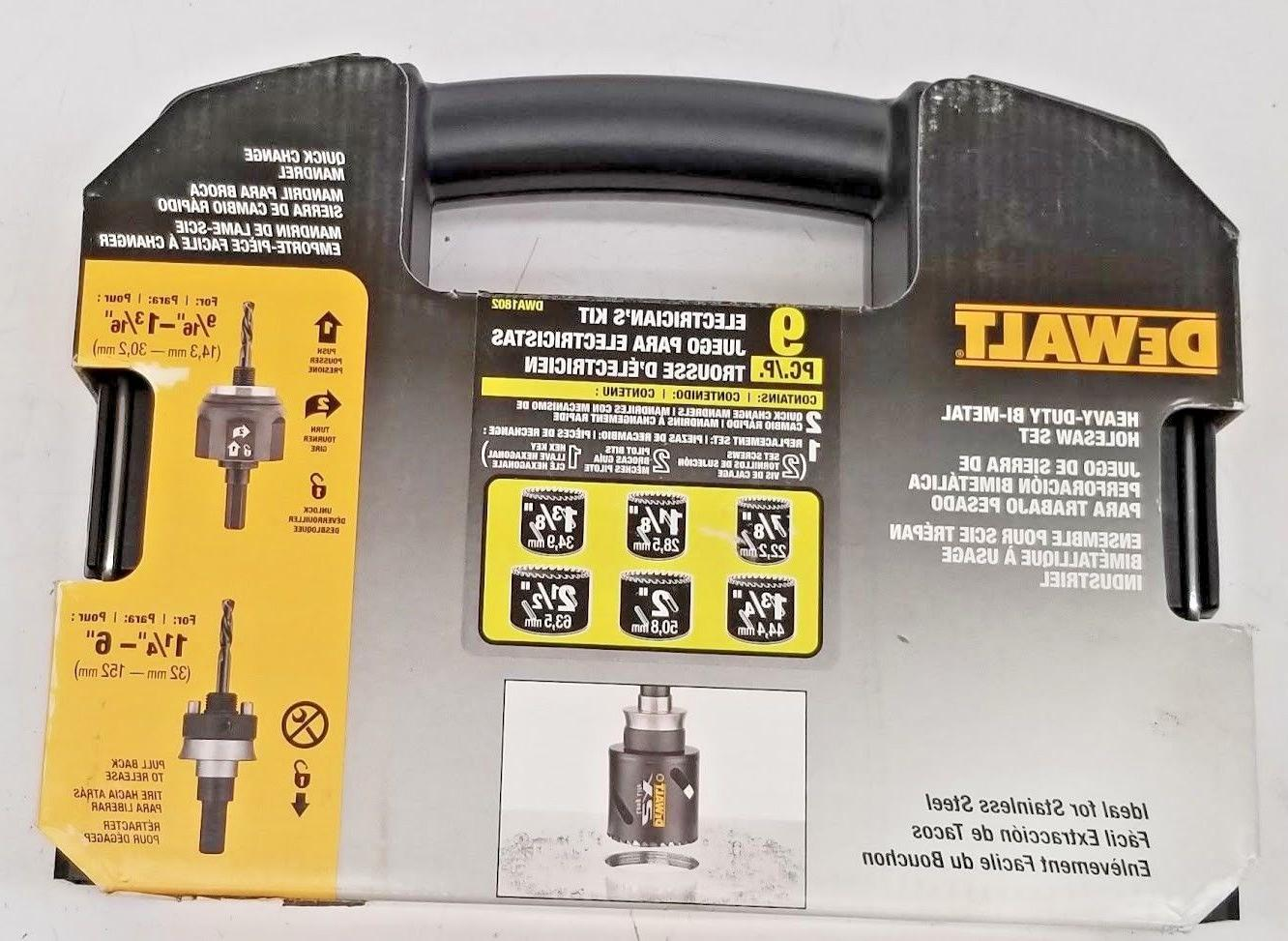 Dewalt DWA1802 9-PC Heavy-Duty Bi-Metal Hole Saw Electrician