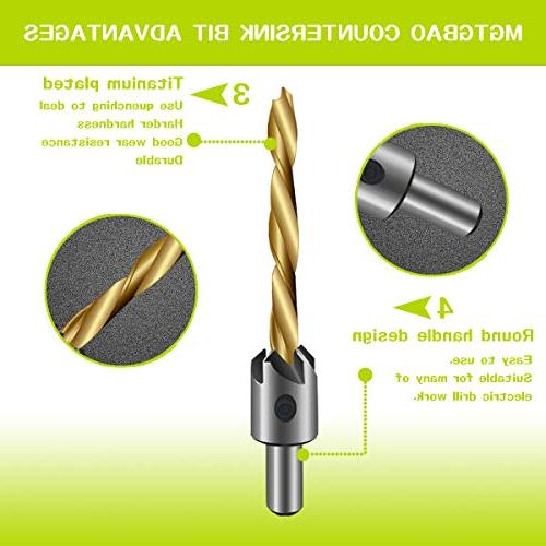 7PCS Countersink Drill Mgtgbao Plating Drill Bit Set Set with Hex for Woodworking