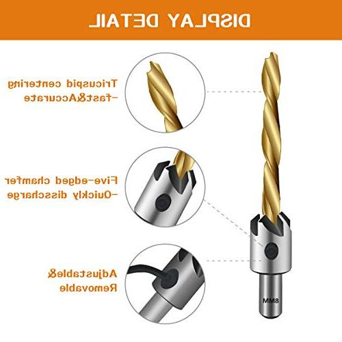 7PCS Mgtgbao Bit Set Wood Set Woodworking Countersink Chamfer, with Hex for Wood Drilling Woodworking Chamfer, Size.