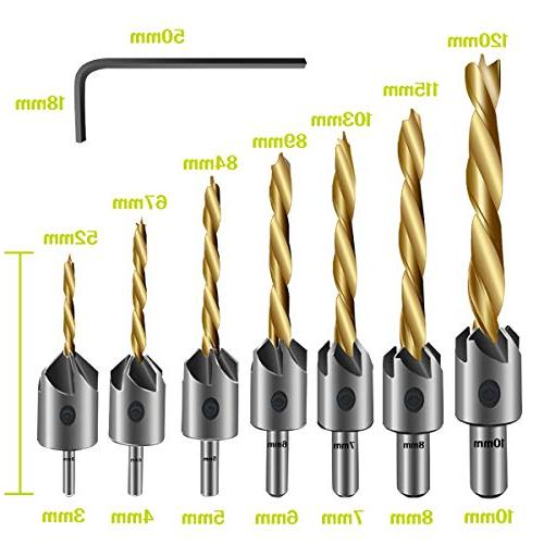 7PCS Countersink Bit, Mgtgbao Plating Bit Wood Set Woodworking Countersink Chamfer, with One Wrench for Woodworking Chamfer, Size.