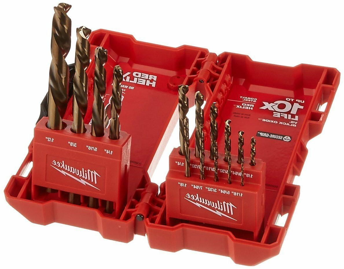 NEW MILWAUKEE 48-89-2331 15 PIECE COBALT RED HELIX STEEL DRI