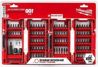 100-Piece Shockwave Impact Driver Bits Set Durable Steel Scr