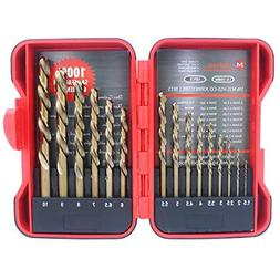 Migiwata 15 Piece Metric M35 Cobalt HSS Drill Bit Kit with S