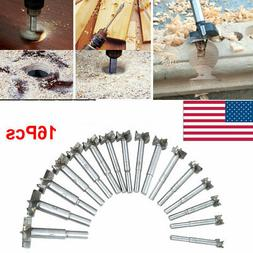 NEW 16pc Forstner Drill Bits Set Flat Wood Hole Woodworking