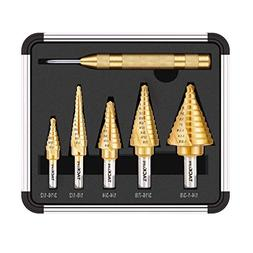Step Drill Bit Set, Tacklife PSD4 Titanium Spiral Grooved Dr