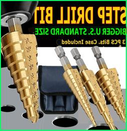 Kangnice 3Pcs Set Steel Titanium Nitride Coated Step Drill B
