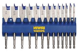 IRWIN SPEEDBOR Flat Boring Drill Bit 13 pc Set w/Storage Rac