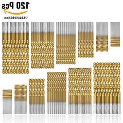 50Pcs Twist Drill Bit Set, DRILLPRO HSS Shank, Titanium Coat